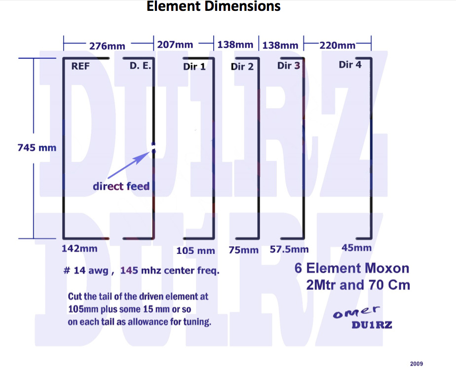 Antenna Project: 6 ELEMENT DUAL BAND WIRE BEAM FOR 2MTR AND