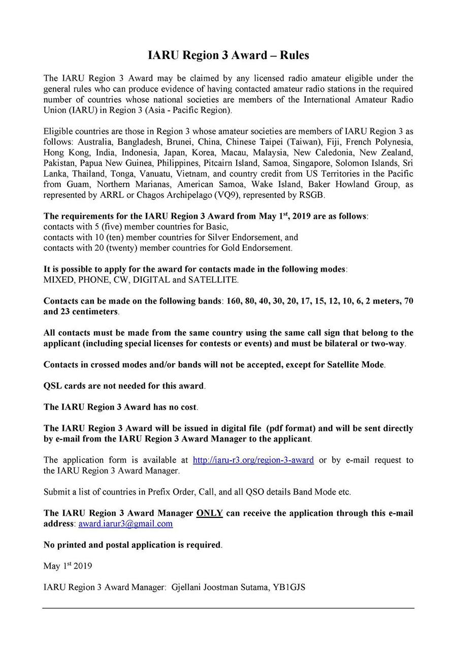 The International Amateur Radio Union Region 3 Award