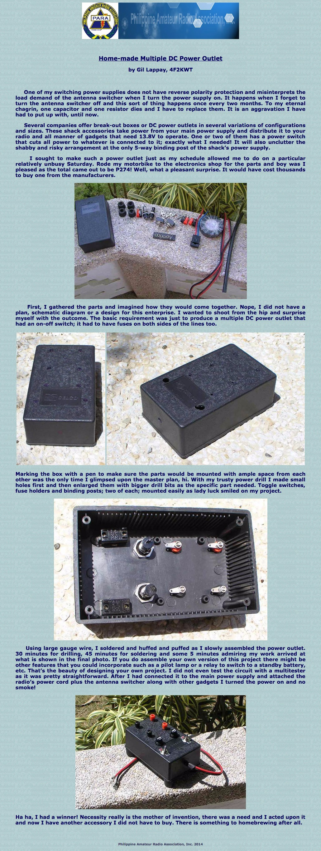 Philippine Amateur Radio Association Para Inc Dc Fuse Box Home Made Multiple Power Outlet By Gilbert Lappay 4f2kwt